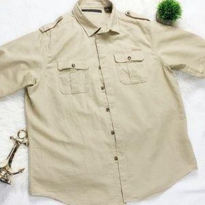 ean John Linen Beige Button Up Short Sleeve Men